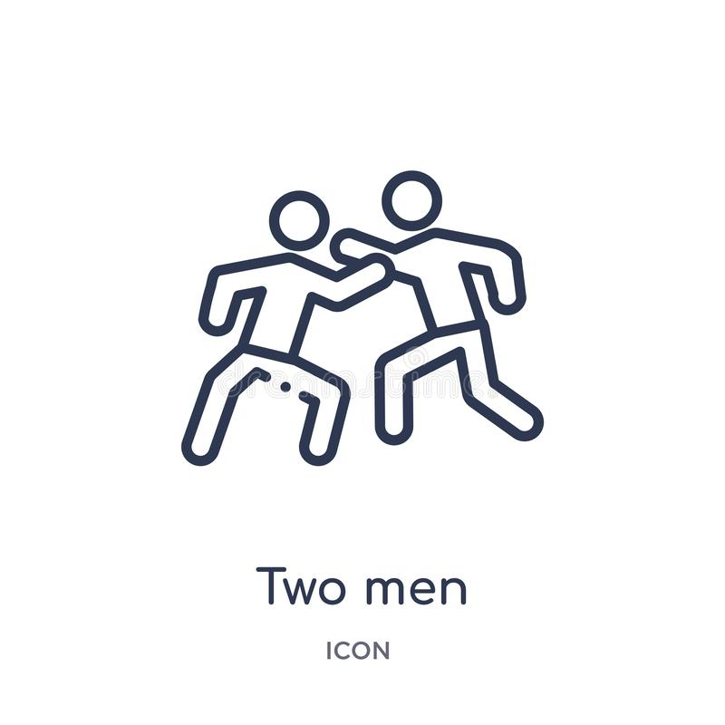 dos hombres que practican el icono del karate de la colección del esquema de los deportes Línea fina dos hombres que practican el stock de ilustración