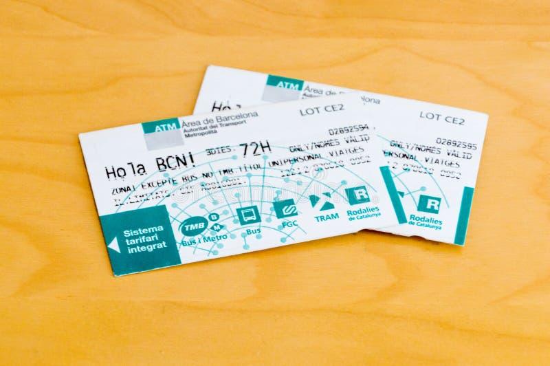 Dos 72 horas de Barcelona de boletos del transporte público imagen de archivo libre de regalías