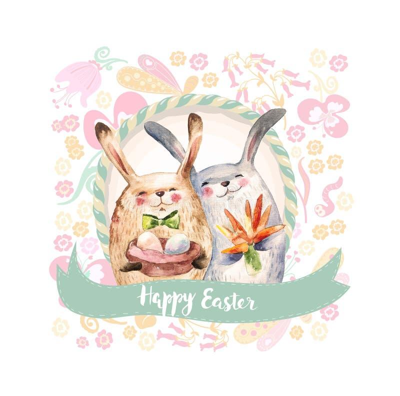 Dos huevos de los regalos del control de los conejos y ramos lindos de zanahoria Collage de la acuarela Tarjeta de pascua feliz ilustración del vector