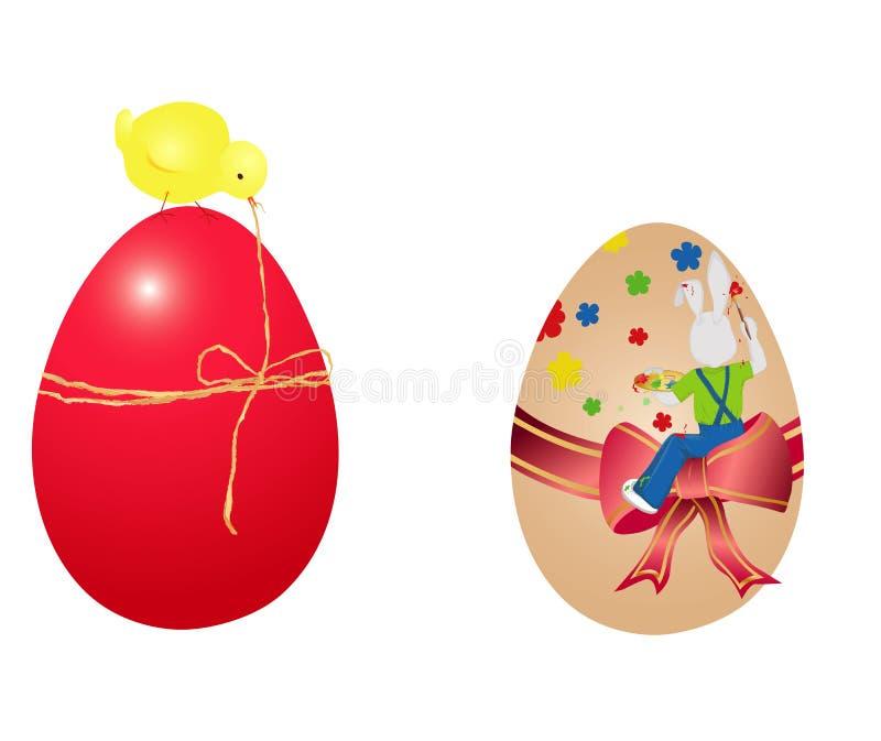 Dos huevos de Pascua stock de ilustración
