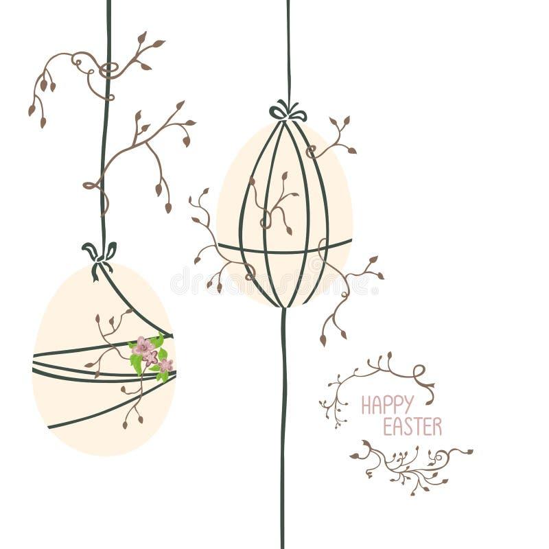 Dos huevos de Pascua se suspenden verticalmente ilustración del vector