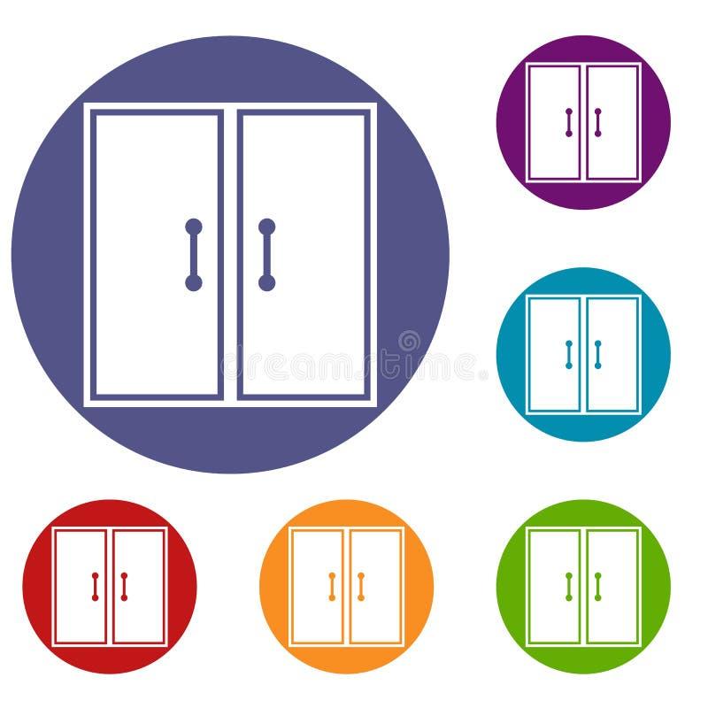 Dos iconos de cristal de las puertas fijados stock de ilustración