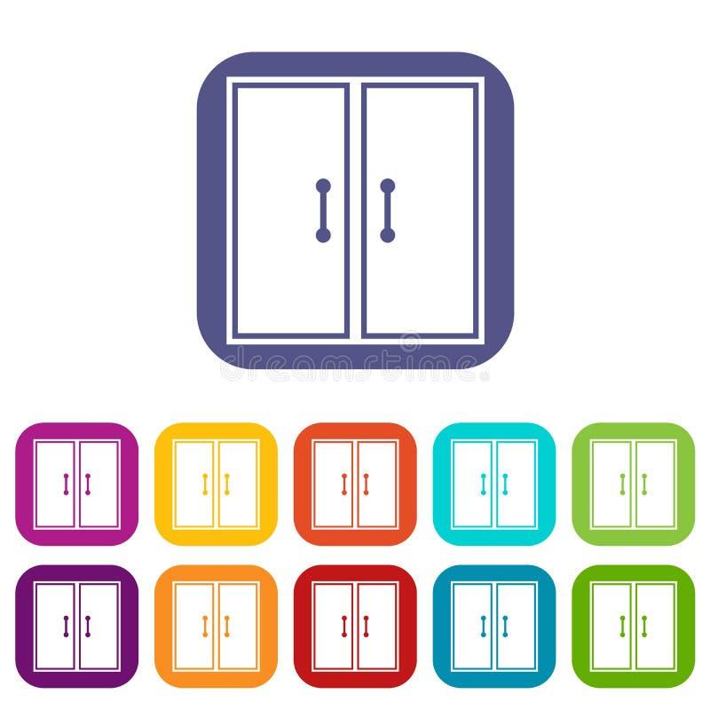 Dos iconos de cristal de las puertas fijados ilustración del vector
