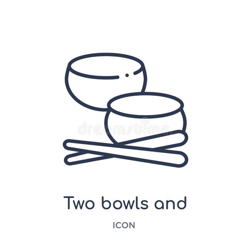 dos iconos de los cuencos y de los palillos de la colección del esquema de las herramientas y de los utensilios Línea fina dos ic stock de ilustración