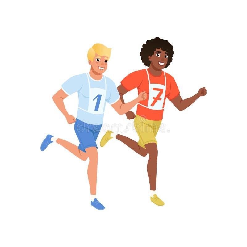 Dos individuos que funcionan con maratón Hombres jovenes en ropa de deportes con número en forma de vida activa y sana del pecho  ilustración del vector