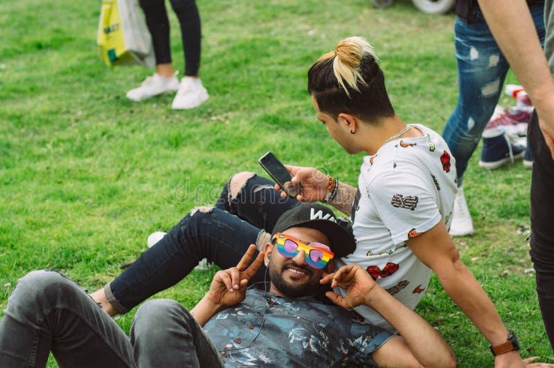 Dos individuos que se sientan en la hierba en festival del orgullo de Helsinki en el parque público de Kaivopuisto foto de archivo libre de regalías