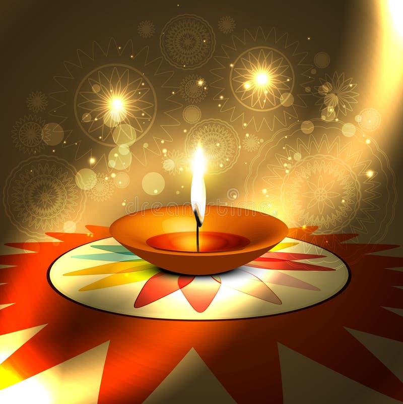 Dos indou coloré de festival de diwali de beau rangoli heureux de diya