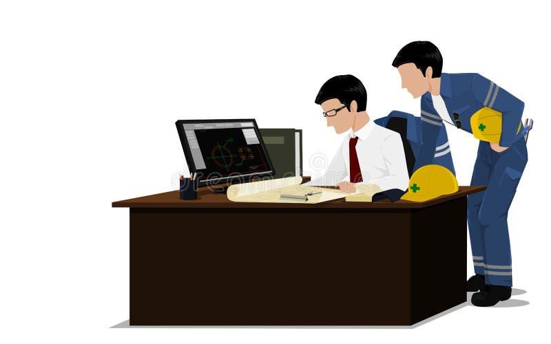 Dos ingenieros están verificando el dibujo stock de ilustración