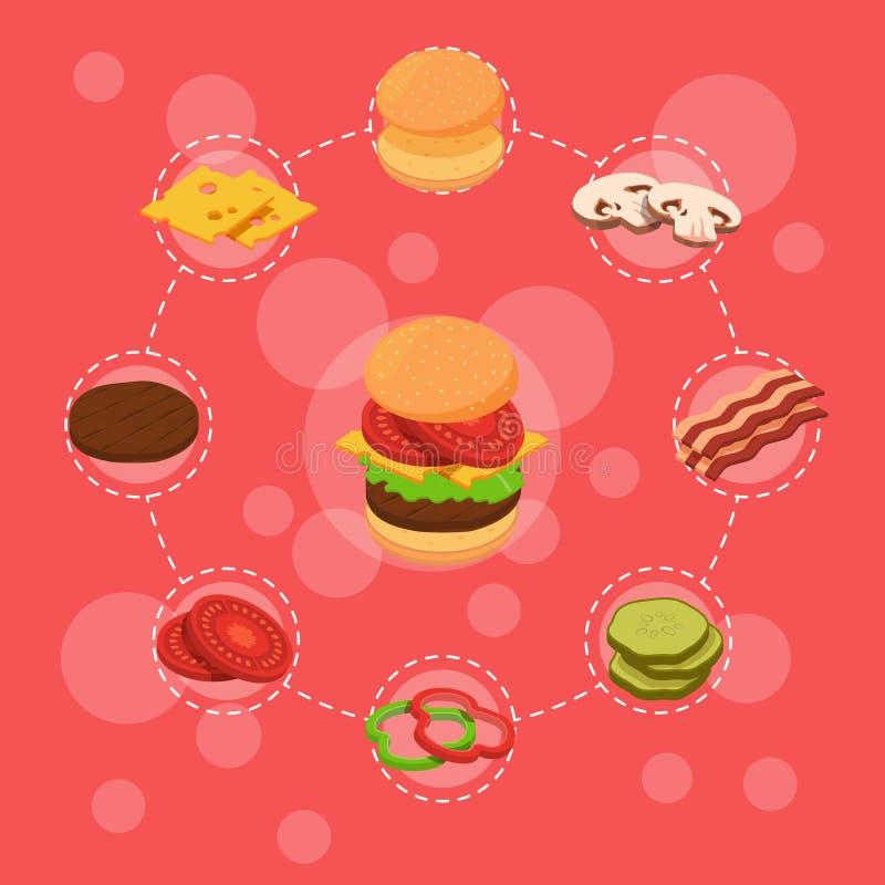 Dos ingredientes isométricos do hamburguer do vetor bolo infographic do café da manhã ilustração do vetor