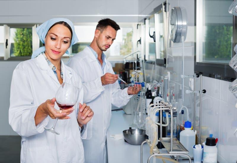 Dos investigadores en la capa blanca que comprueban acidez del vino en laboratorio fotografía de archivo