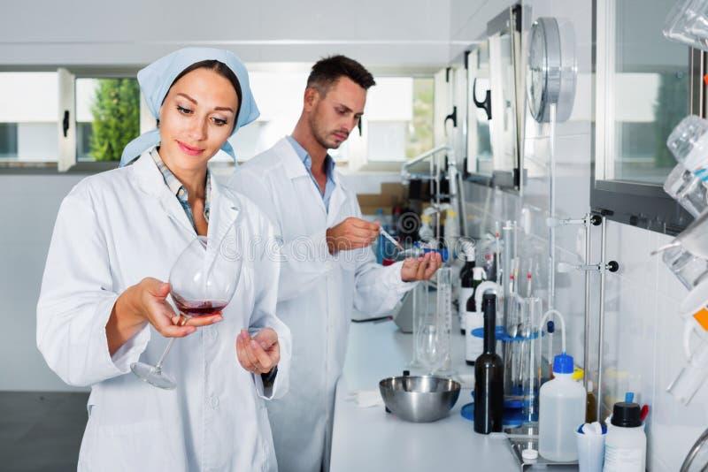 Dos investigadores en la capa blanca que comprueban acidez del vino en laboratorio fotos de archivo libres de regalías