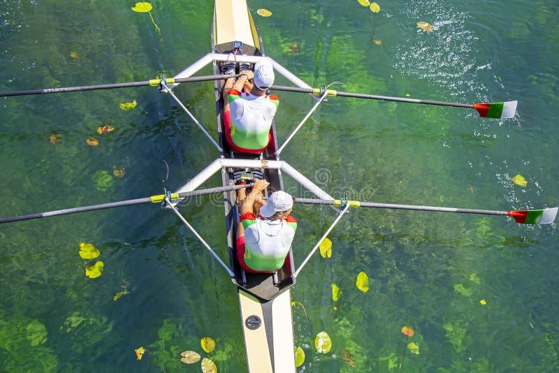 Dos jóvenes atletas remo en el lago verde foto de archivo