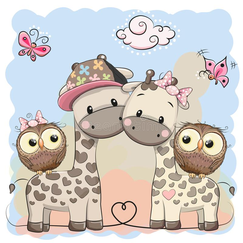 Dos jirafas y búhos lindos ilustración del vector