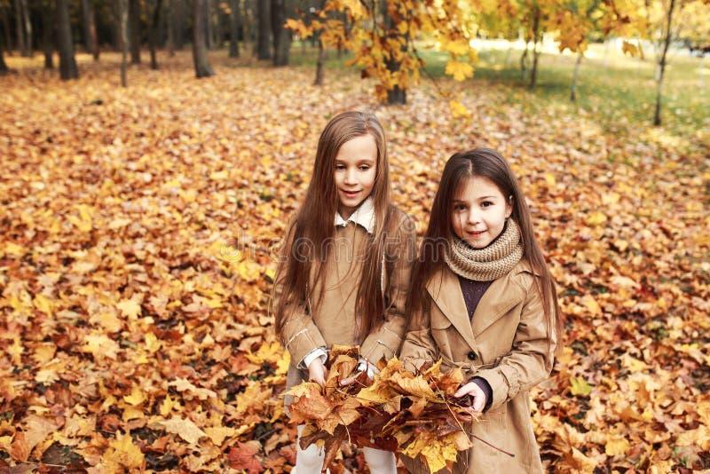 Dos juegos de las pequeñas hermanas en las hojas de otoño en parque fotografía de archivo