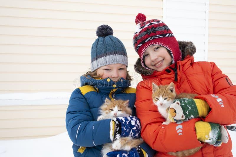 Dos juegos de los muchachos con un aire libre del gato en invierno foto de archivo