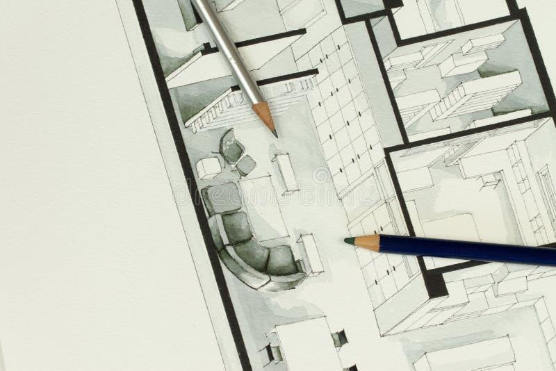 Dos lápices artísticos del dibujo fijaron en el dibujo isométrico arquitectónico real del plan de piso de las propiedades inmobil imagenes de archivo