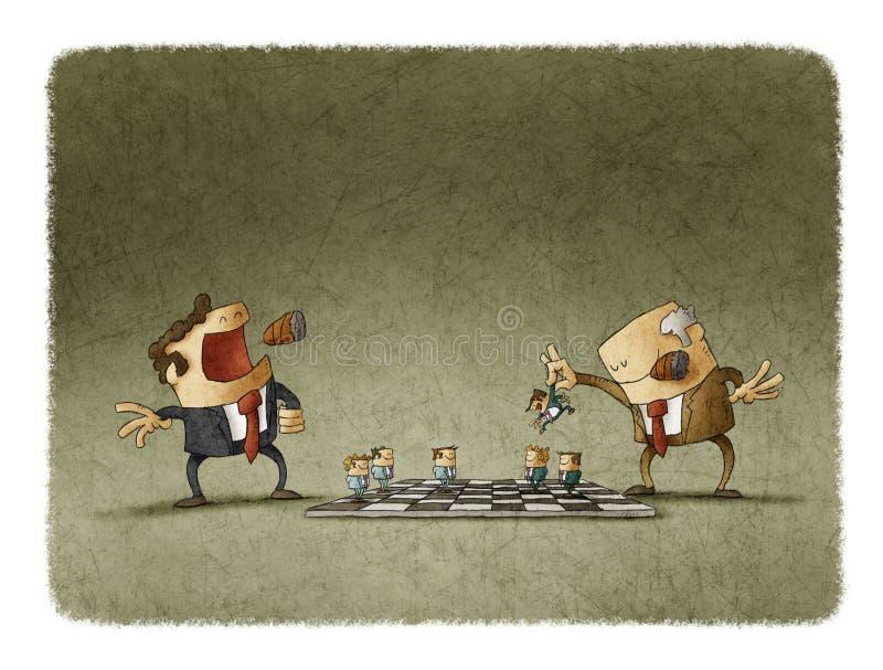 Dos líderes que juegan a ajedrez con los empleados stock de ilustración