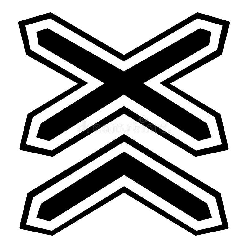 Dos línea no icono de los ferrocarriles de la barrera, estilo simple stock de ilustración