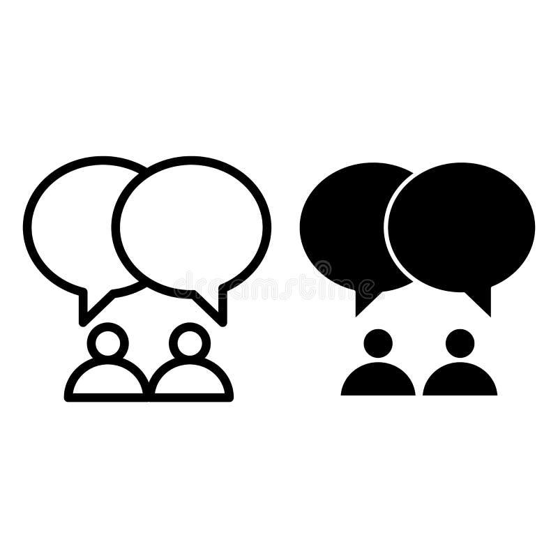 Dos líneas de las personas y del diálogo e icono del glyph Ejemplo del vector de la comunicación aislado en blanco Esquema de la  ilustración del vector