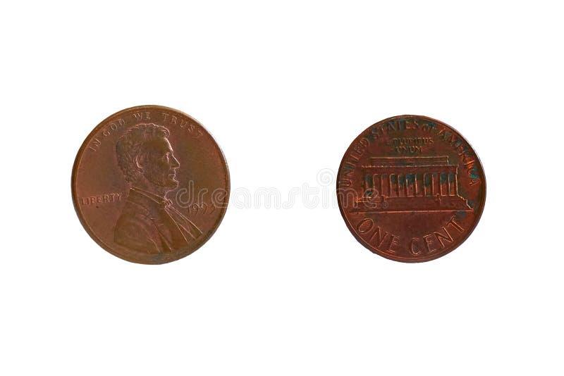 Dos lados de una moneda en 1 centavo fotos de archivo