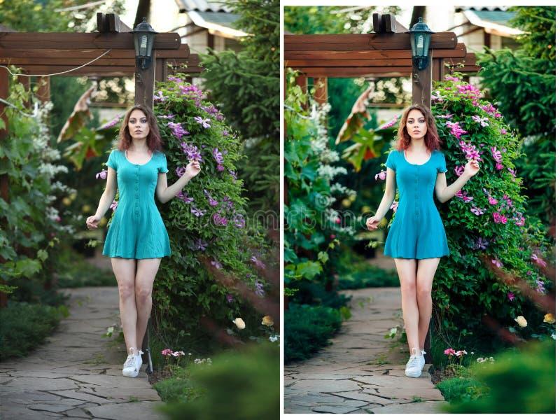 Dos lanzamientos de muchacha antes y después de retocan imagenes de archivo