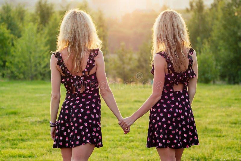 Dos lesbianas hermanas gemelas bellísima rubia rubia, joven con un elegante vestido, tomándose de la mano en el parque de verano foto de archivo