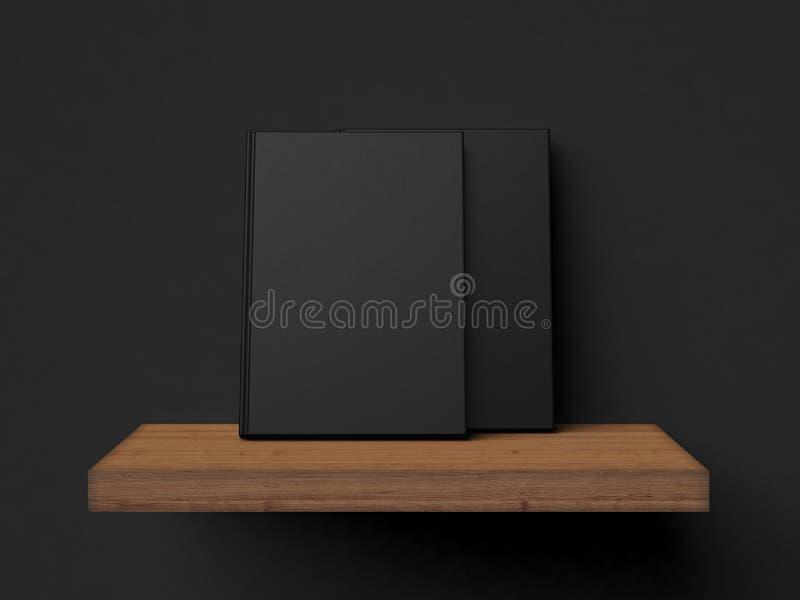 Dos libros en blanco en un estante de madera representación 3d ilustración del vector