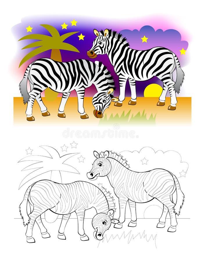 Dos lindas cebras en el desierto africano. Página en blanco y negro y colorido para el libro de colorear para niños stock de ilustración
