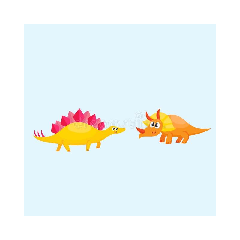 Dos lindos y caracteres divertidos del dinosaurio del bebé - stegosaurus y triceratops libre illustration