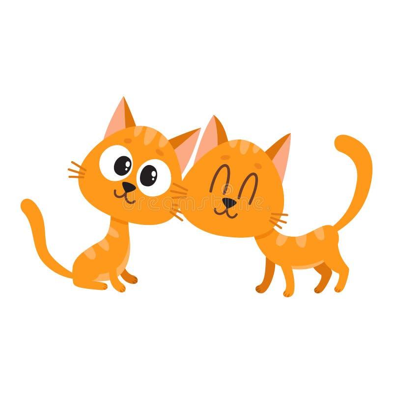 Dos lindos y divertidos, curiosos, de abrazos gatos rojos, caracteres del gatito stock de ilustración