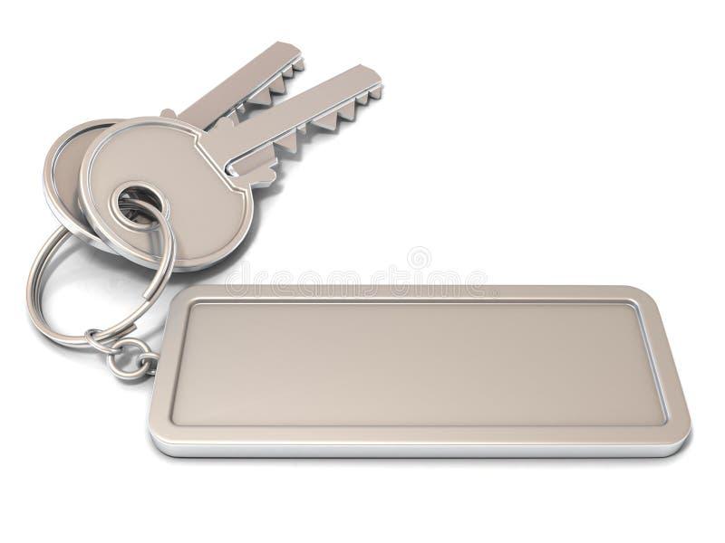Dos llaves de la puerta y etiqueta en blanco rectangular en el anillo stock de ilustración