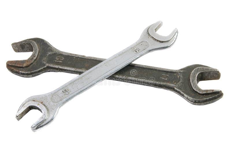 Dos llaves inglesas/llaves viejas imagenes de archivo