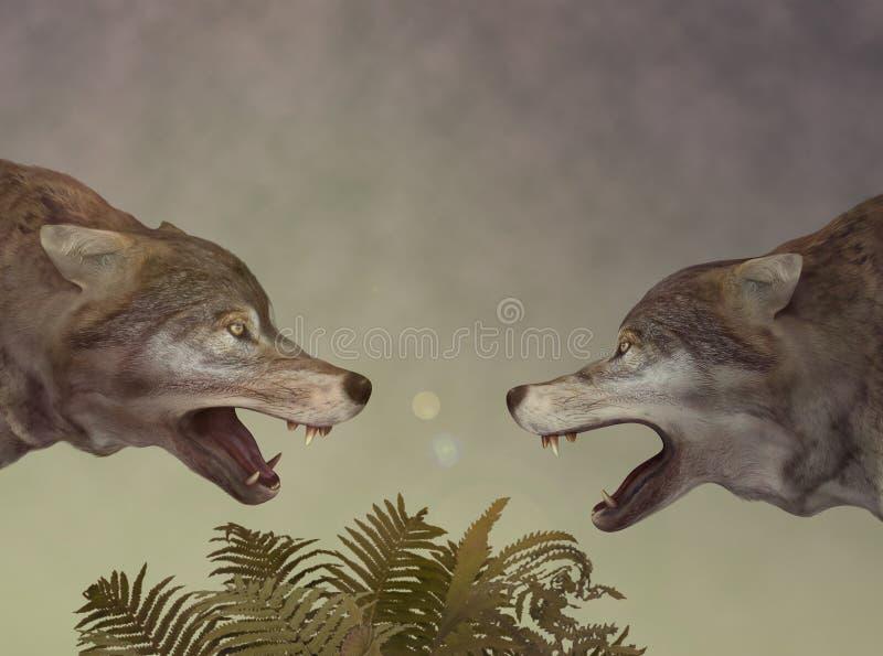 Dos lobos. Diálogo. stock de ilustración