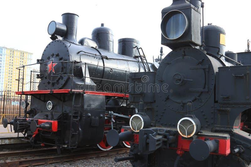 Dos locomotoras de vapor foto de archivo