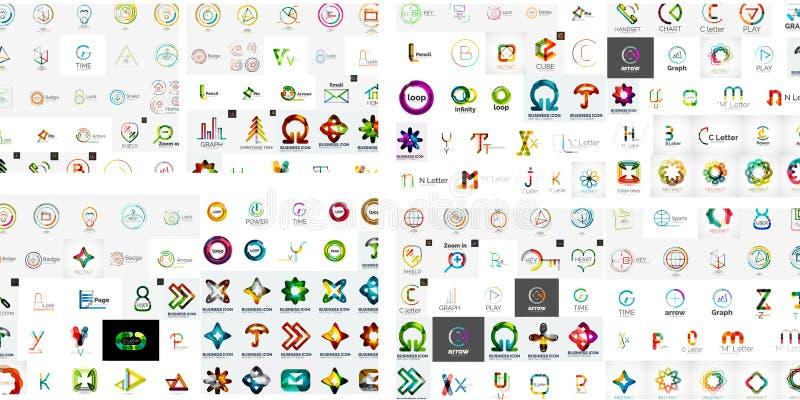 Dos logotipos abstratos da empresa do vetor coleção mega ilustração royalty free