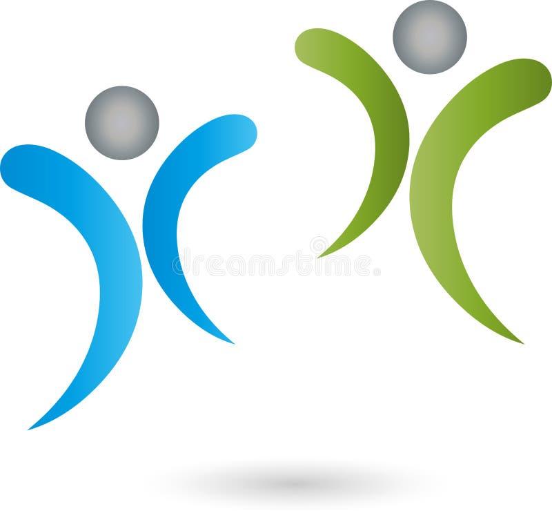 Dos logotipos de las personas, de la gente, del equipo y de la familia ilustración del vector