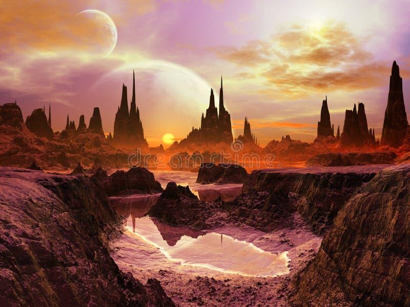 Dos lunas en el crepúsculo en el planeta distante stock de ilustración