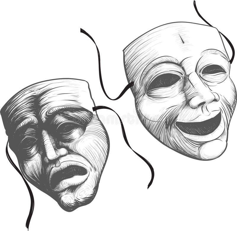 Dos máscaras del teatro ilustración del vector