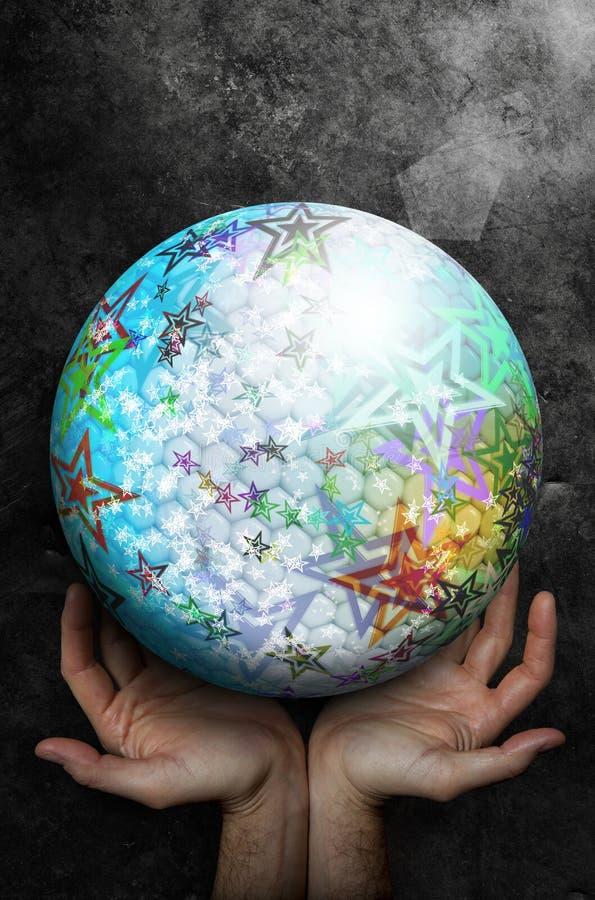 Dos manos abiertas encima de hacer frente a una esfera grande con la superficie abstracta colorida con las estrellas ilustración del vector