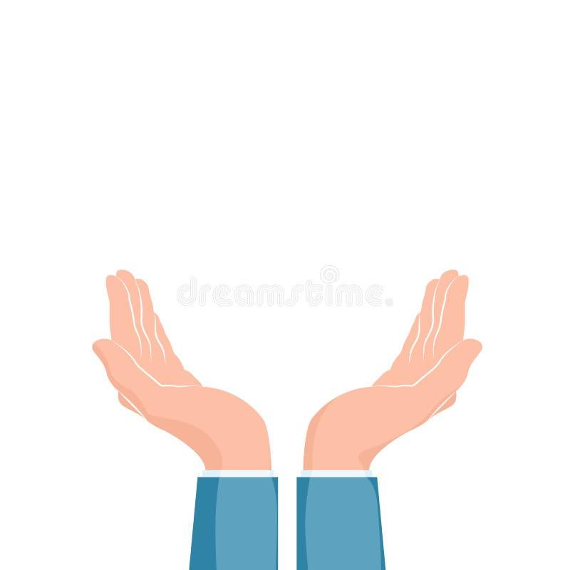 Dos manos ahuecadas Manos que utilizan Ejemplo del vector aislado en blanco stock de ilustración