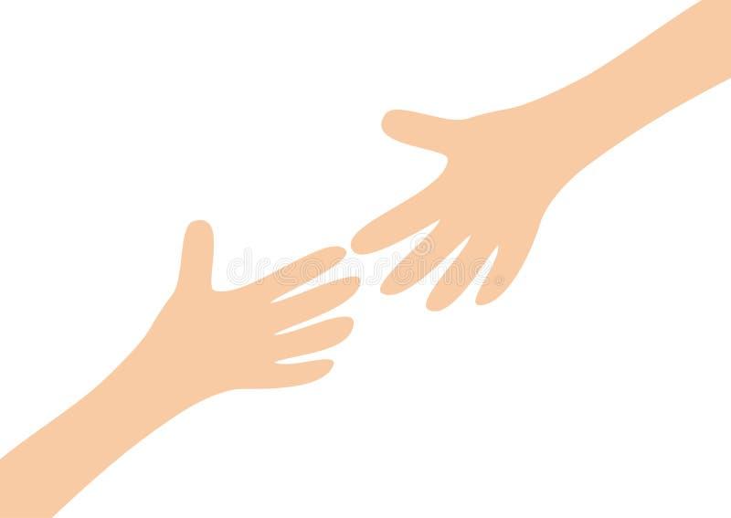 Dos manos de brazos que alcanzan el uno al otro Niño y madre Ciérrese encima de la parte del cuerpo Mano amiga Día de tarjetas de stock de ilustración