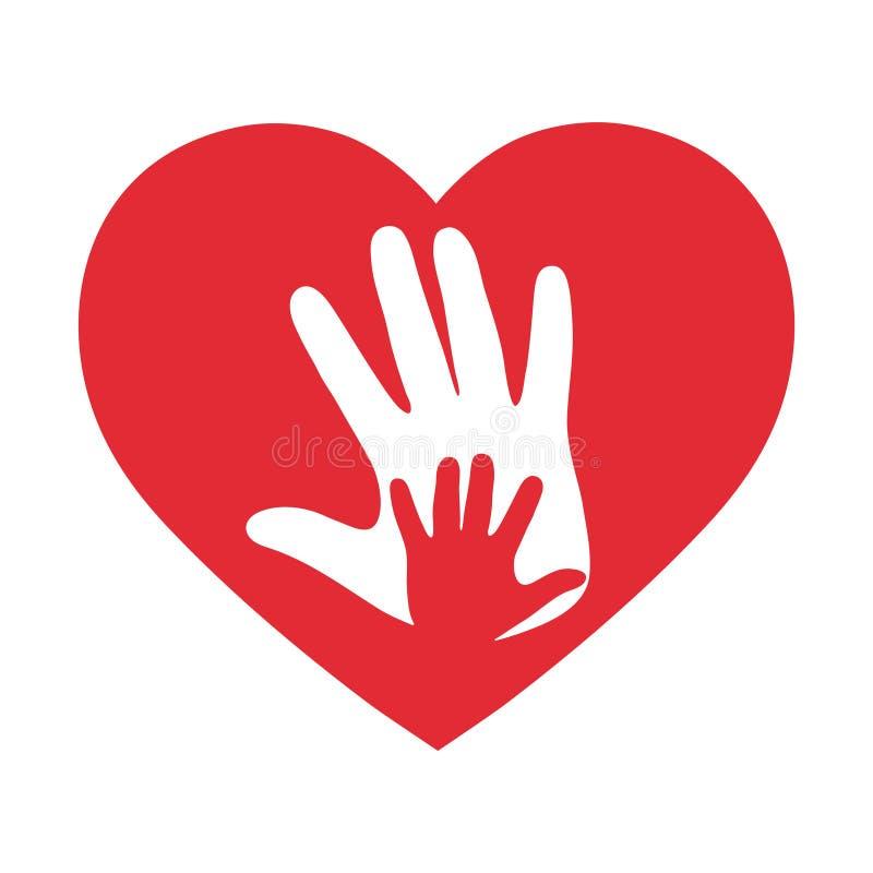 Dos manos en el corazón Ame, concepto romántico de la relación en el fondo blanco libre illustration