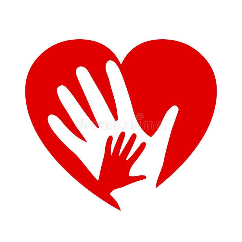 Dos manos en el corazón, icono de la caridad, organización de voluntarios, comunidad de la familia stock de ilustración