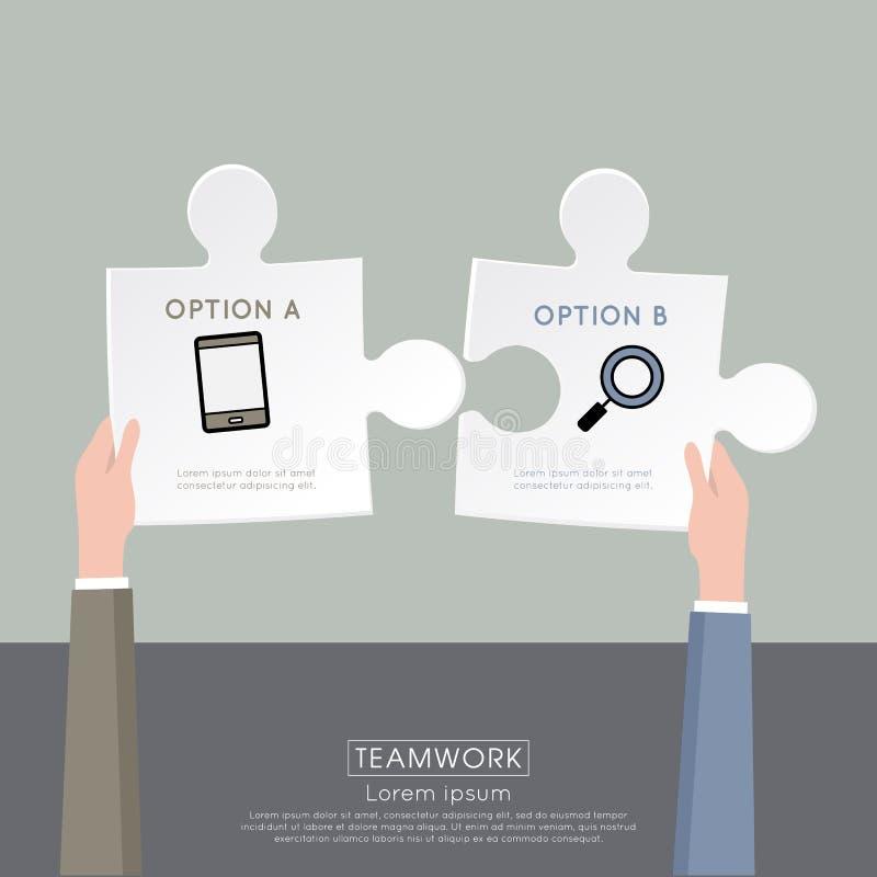 Dos manos que conectan pedazos del rompecabezas libre illustration