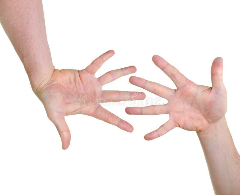 Dos manos que indican compatibilidad foto de archivo