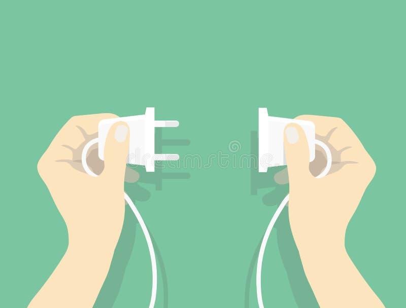 Dos manos que intentan conectar el enchufe eléctrico junto, ejemplo del vector de la conexión en estilo plano libre illustration