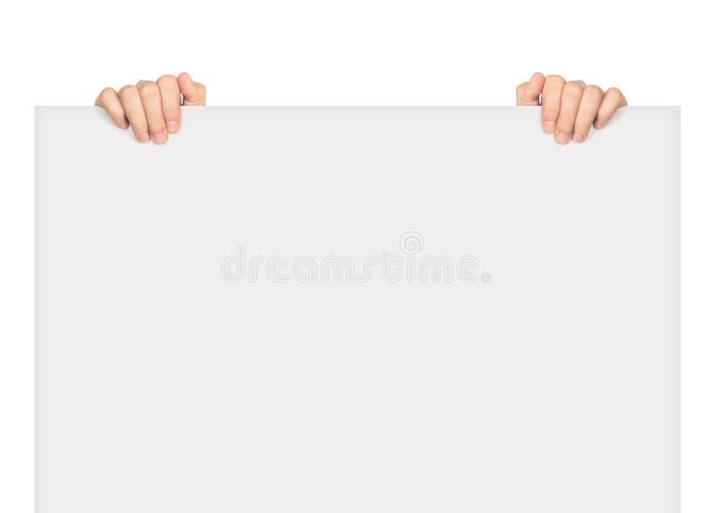 Dos manos que llevan a cabo el espacio en blanco grande fotografía de archivo