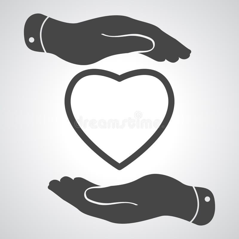 Dos manos que protegen el icono del corazón ilustración del vector