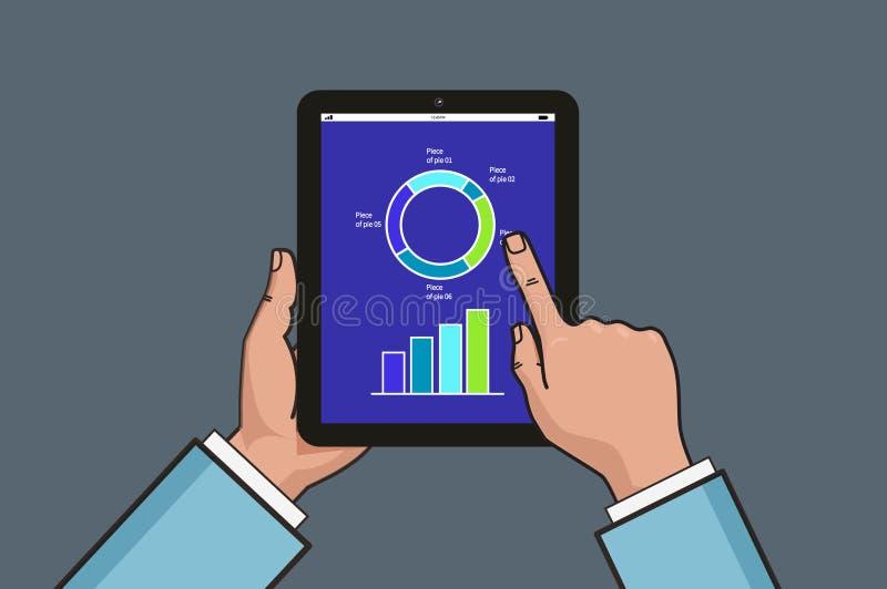Dos manos que sostienen la tableta con el diagrama y la carta del negocio Ejemplo del informe de negocios Línea plana diseño del  stock de ilustración