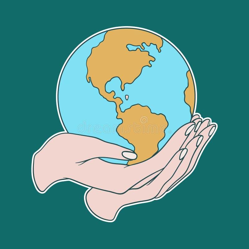 Dos manos que sostienen la tierra stock de ilustración